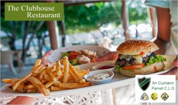Burger & Pint for 2 (€14.50) or Main Course & Wine for 2 (€17) at Clubhouse Restaurant, Coolock, D5