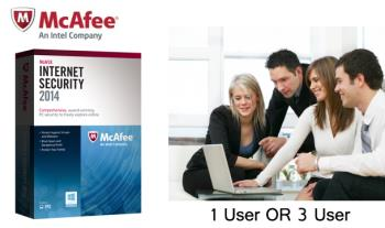 1 User (€20) OR 3 User (€30) 12 Month Subscription to McAfee Internet Security 2014 Digital Download from clearancestuff.co.uk
