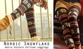 Casual Winter Snowflake Knitted Leggings, for only €16 with Free Delivery.