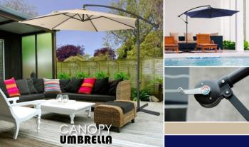 Three-Metre Garden Deck Umbrella with Banana Stand, now only €79 with Free Delivery.