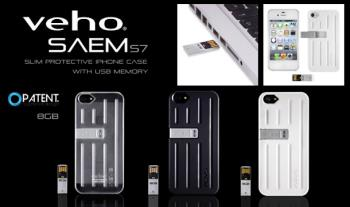 Stylish Veho SAEM S7 iPhone Case with Intergrated 8gb USB Memory Drive, in a choice of colours for iPhone 4/4s / 5/5s in a range of colours for only €19.99 with Free Delivery.