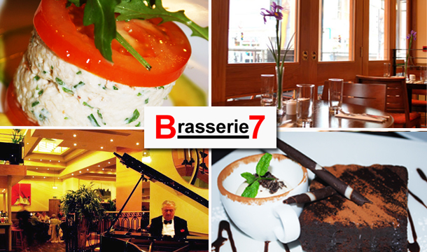Brasserie 7: 2 Course Dinner for 2 Plus a Glass of Wine at Brasserie 7, Dublin City for only €24