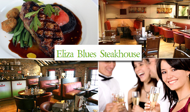 €65 for a 3 Course Dinner for 4 people with 2 Bottles of Prosecco or €149 for a 3 Course Dinner for 10 people with 4 Bottles of Prosecco at Eliza Blues Steakhouse Restaurant, above Breathnach's Bar, Kilkenny!