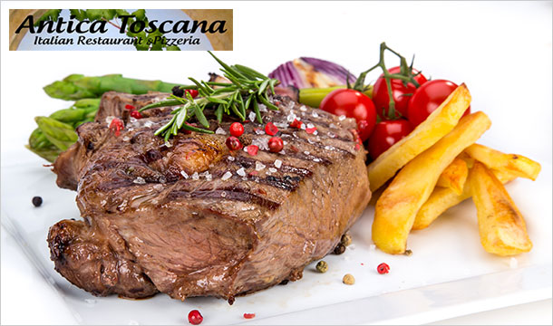Antica Toscana: 10oz Sirloin Steak Dinner for 2 people at Antica Toscana in Drogheda for just €30