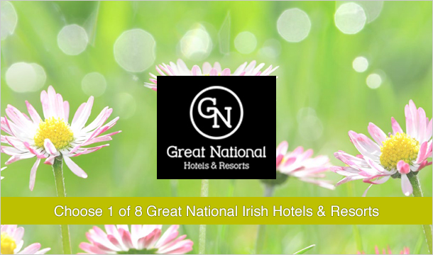 €109 instead of €259 for 2 Nights stay for Two including Breakfast and Late Checkout at 1 of 8 Great National Irish Hotels and Resorts