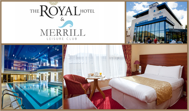 €50 for 1 Night or €85 for 2 Nights stay for Two including Breakfast, a Bottle of Wine when dining & €20 Spa Credit at The Royal Hotel & Merrill Leisure Club, Bray, Co. Wicklow