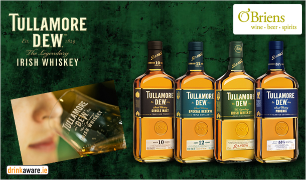 Tullamore D.E.W.: Tullamore Dew Whiskey Tasting Event for €15 on Thursday 27th November at The Westin Hotel, D22