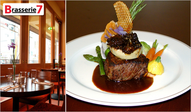 Brasserie 7: 2 Course Meal For 2 from the Full Al a Carte Menu With A Bottle Of Prosecco at Brasserie 7, D7