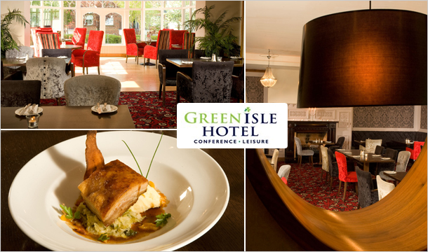 Green Isle Conference & Leisure Hotel: 3 Course Dinner for 2 with a Glass of Wine & Tea/Coffee at Sorrel's Bistro, D22 for just €45