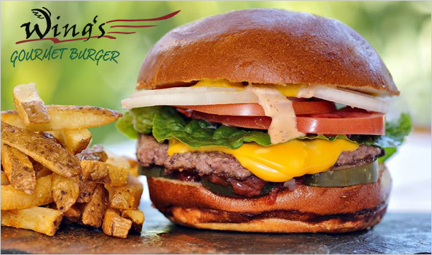 Wings Gourmet Burger: Gourmet Burgers With Fries & Dips from €8 at Wings Gourmet Burger Dublin 1