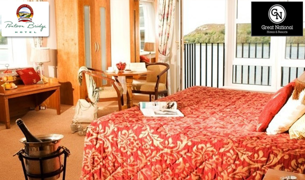 €69 instead of €198 for 2 Nights Weekend Stay for Two including Breakfast, a Bottle of Wine when dining & a 2 for 1 discount on Holistic Neck & Shoulder Massage at the Pontoon Bridge Hotel, Mayo