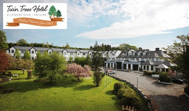 Twin Trees Hotel & Leisure Club: 1 or 2 Nights B&B for 2 including extras at the Award Winning Twin Trees Hotel, Ballina