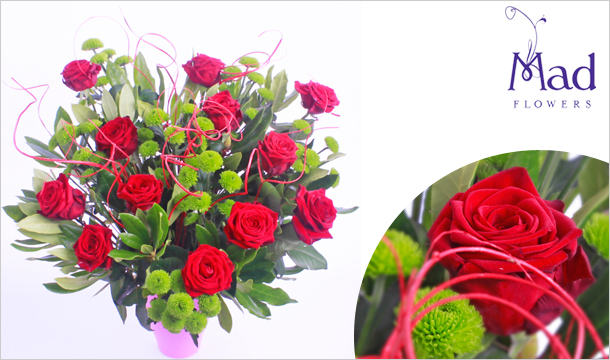 Mad Flowers: Summer Rose Red Bouquet for just €39, Delivered Nationwide from Mad Flowers.