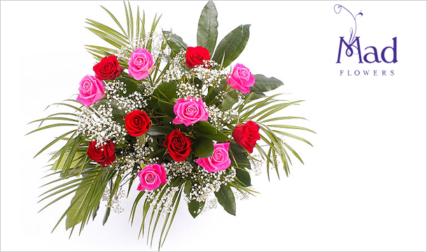 Mad Flowers: Valentines Red & Pink Roses Bouquet with a Dozen Roses for just €39, Delivered Nationwide