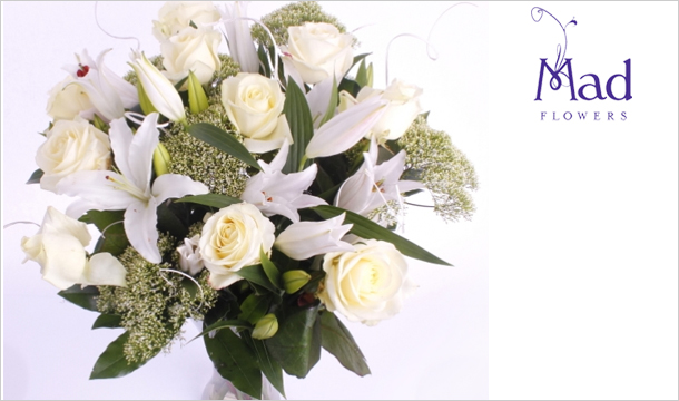 Mad Flowers: €39 for a stunning Mother's Day Bouquet of Beautiful White Roses and Lilies Bouquet, delivered