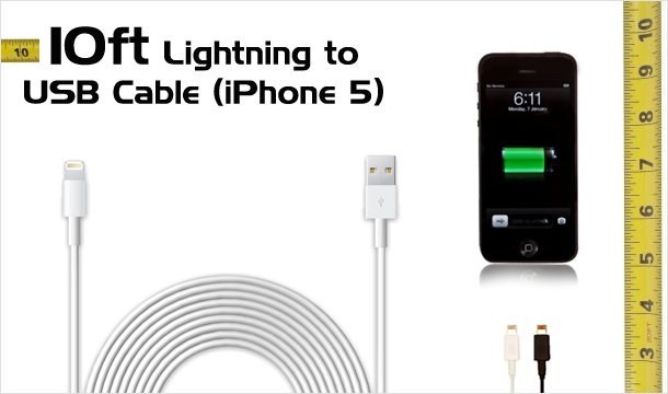 €12.99 for 10ft Lightning to USB Cable for iPhone 5 in a choice of colours, Delivered!