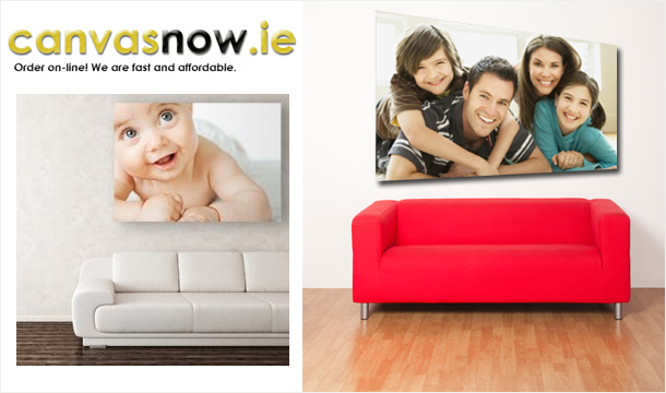 Create a Personalised Canvas from Canvasnow.ie. 12x8 (€19), 16x12 (€29), 24x16 (€39), 32x24 (€49), delivered to your door!