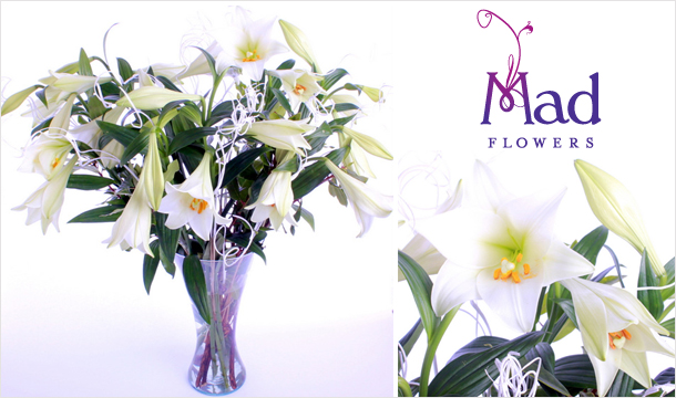 €39 for a stunning arrangement of new Irish Season Luxury Longie Lilies, delivered from Mad Flowers!
