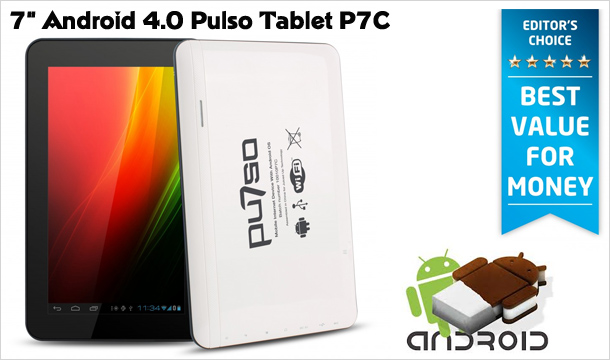 "Option 1 - €89.99 for the award winning 7"" Android 4.0 Pulso Tablet P7C, delivered! Option 2 - €99 for the award winning 7"" Android 4.0 Pulso Tablet P7C, Neoprene Sleeve Plus Stylus, including delivery! (Editors Choice - Voted Best Value For Money)"