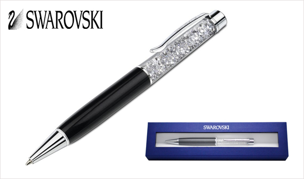 €22 for a Swarovski Anthracite Ballpoint Pen filled with sparkling White Diamond Crystals, gift boxed and delivered!