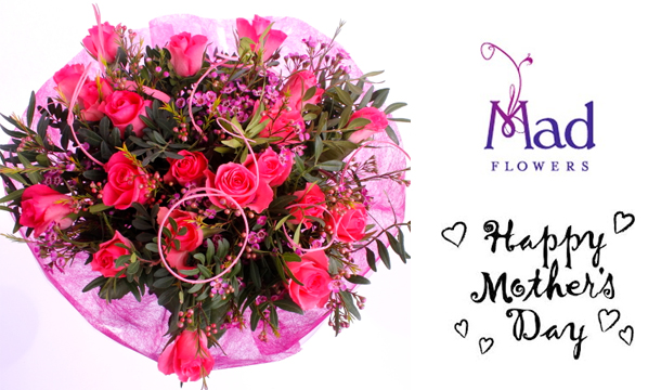€39 for a stunning Mother's Day Bouquet of classical Pink Roses,  delivered from Mad Flowers, Nationwide.